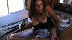 Busty vixen is invited into RV to entertain two wicked members