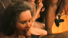 Tremendously sexy old bitch licks juicy clit and vulvar lips of her love-mate