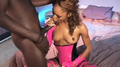 Nasty ebony babe Marie Luv takes Nathan's black stick deep in her ass