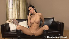 Tight-bodied Aletta spreads her legs to finger her own moist snatch