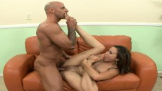 Skinny Kita Zen gets nailed on the couch by a black dick that cums on her feet