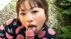 Mirai Hirooka gets a lesson on how to properly suck dick outside