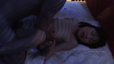 Cute Japanese teen has a horny guy roughly fucking her cunt on the bed