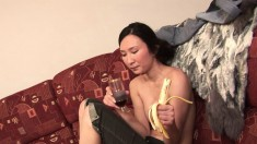 Pretty Asian girl finds herself home alone and reveals her superb body