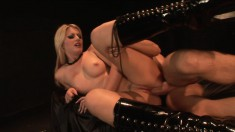 Hot blonde in black boots fucks a big dick and gets a mouthful of cum