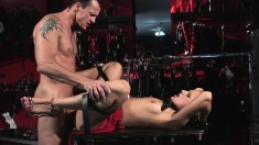 Butch blonde sucks on his feet and cock, tied up and ass fucked