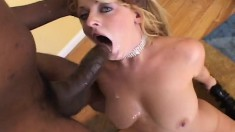 Trashy blonde with big natural boobs Sophie Dee fucks two large cocks