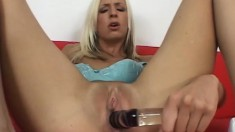 Sexy slim blonde plays with a glass dildo and then fucks a long dick
