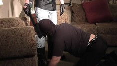 Masked stud gets down on his knees and displays his great oral skills