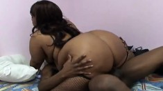 Phat ebony gets nailed from behind before she gets on to ride him