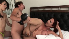 Horny Dude Finds Outstanding Pleasure Between Two Attractive Shemales