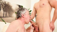 Lusty Older Man Takes This Young Hunk's Prick In His Skilled Mouth