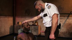 Burly correctional officer makes a ripped black stud suck his hard cock