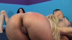 Lusty sluts Aaliyah Love, Aiden Ashley and Alby Rydez take a pounding in a group sex session
