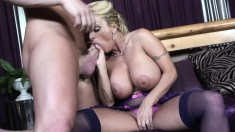 Stacked housewife in lingerie Holly passionately fucks a young cock