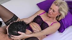 Stockings and lingerie clad milf sucks cock in hi def