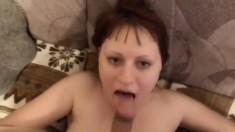 Redhead amateur GF blowjob with huge facial cumshot