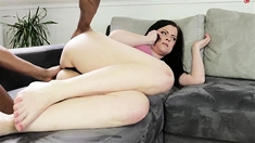 Busty brunette with small ass and wet getting fucked