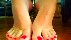 RED NAIL POLISH FOOT
