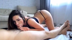 Pulled amateur babe gives sweet pov blowjob