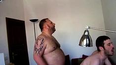 Hairy pig fucking a boy slut