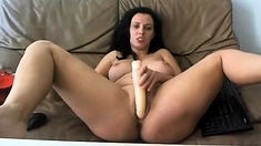 Sexy, busty MILF teasing on webcam