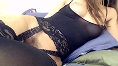 Hairy Amateur In Stockings Getting Sex