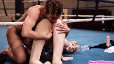 Skinny blonde babe fucked by her lesbian boxing coach