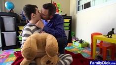 Sweet teen fucks teddys hole and anal fucked by stepdad