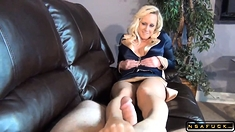 Striking blonde milf in pantyhose reveal